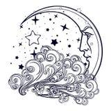Växande måne för sagastil med en mänsklig framsida som vilar på ett lockigt utsmyckat moln med en stjärnklar nignhthimmel bakom stock illustrationer