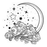 Växande måne för sagastil med en mänsklig framsida som vilar på ett lockigt utsmyckat moln med en stjärnklar nignhthimmel bakom p stock illustrationer
