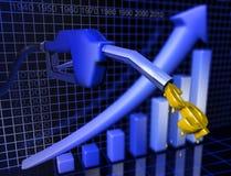 växande pris för gas Arkivbild