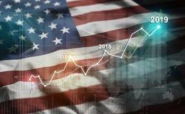 Växande statistik finansiell 2019 mot Förenta staterna av Americ vektor illustrationer