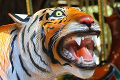 Växande tigerframsida med den öppna munnen i en karusell Arkivfoton