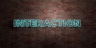 VÄXELVERKAN - fluorescerande tecken för neonrör på murverk - främre sikt - 3D framförd fri materielbild för royalty stock illustrationer