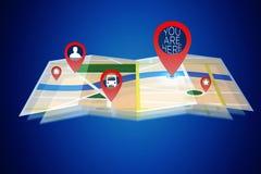 Växelverkande översikt som isoleras på en bakgrund - conc GPS lokalisering royaltyfri bild