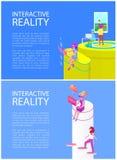 Växelverkande illustration för verklighetteknologivektor royaltyfri illustrationer