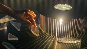 Växelverkande utläggning i vetenskapsmuseum - effekt av refraktion arkivbilder