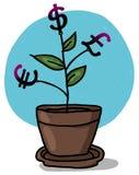 växer krukan för illustrationpengarväxten Royaltyfri Bild