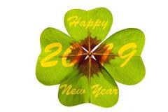 Växt av släktet Trifoliumblad med gratulationer för Silvester 2019 royaltyfri foto