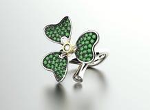 Växt av släktet Trifoliumcirkel med diamanten och smaragden Smyckenbakgrund med fo Royaltyfri Foto