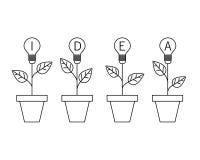 Växt för ljus kula för lampa i krukan Växande idébegrepp planlägg linjen royaltyfri illustrationer
