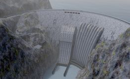 Växt för vattenkraftstation, illustration 3d Arkivfoto