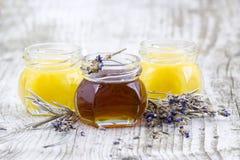 Växt- honung med lavendelblommor Royaltyfri Foto