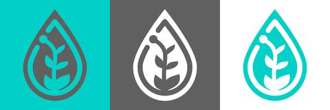 Växt i waterdropsymbol stock illustrationer