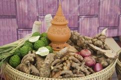 Växt- kosmetisk hudomsorg och forntida thai stil för massagebrunnsort Arkivfoto