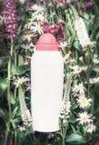 Växt- kosmetisk produktflaska på örter och blommor bakgrund, bästa sikt Skincare wellness, naturlig skönhetsmedel Arkivbild