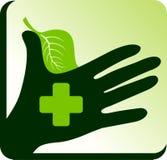 växt- logo för doktorshand Royaltyfri Fotografi