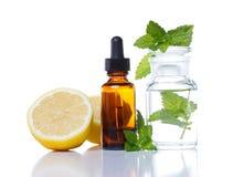 växt- medicin för aromatherapy flaskdroppglass Royaltyfria Bilder