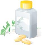 växt- medicinska pills för flack stock illustrationer