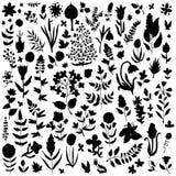 Växt- och blommauppsättning stock illustrationer
