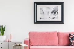 Växt på kabinettet bredvid rosa soffa i den vita vardagsruminre med affischen och boken Verkligt foto royaltyfri fotografi