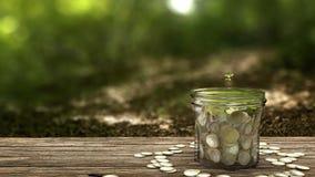 Växt som växer från pengarkruset Begrepp av den finansiella investeringen