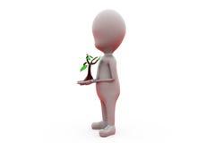 växtbegrepp för man 3d Royaltyfria Bilder