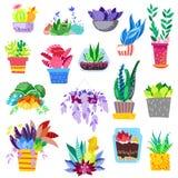Växter i blomkrukavektor lade in färgrika blommiga houseplants för inregarnering med den blom- botaniska samlingen vektor illustrationer