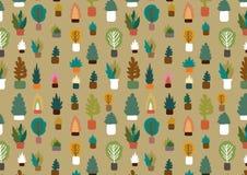 Växter i en krukamodell Royaltyfri Illustrationer