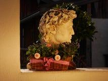 Växter i pilkorg framme av en skulptur arkivfoto