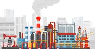 Växtfabrik på stadsbakgrunden Industriellt fabrikslandskap BRANSCH FÖR OLJE- GAS stock illustrationer