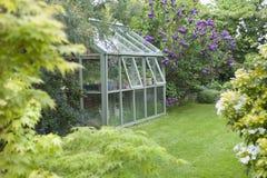 Växthus i tillbaka trädgård Arkivbilder