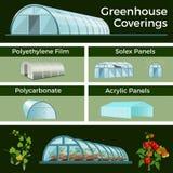 Växthus och hög tunneluppsättning vektor illustrationer