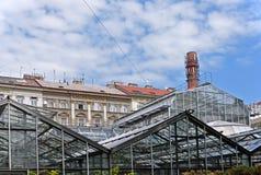 Växthus som göras av stålkonstruktion som är främst av bostads- byggnader och lampglaset royaltyfria foton