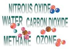 Växthuset gasar molekylar royaltyfri illustrationer