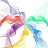 Våg av de många kulöra linjerna Abstrakta krabba band på en isolerad vit bakgrund Idérik linje konst Vektorillustration EPS royaltyfri illustrationer