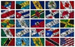 Våg färgglada Nordamerika flaggor Royaltyfri Fotografi