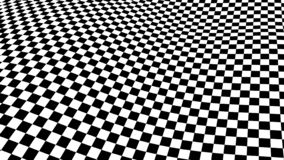 Våg för optisk illusion Schackvågor stiger ombord Abstrakta svartvita illusioner 3d Horisontallinjer band modell eller bakgrund royaltyfri illustrationer