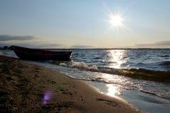 Våg för Polen - Rewa soluppsättning arkivfoton