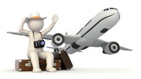 våg för resväska för man 3d turist- Arkivfoton