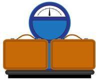 Våg med resväskor stock illustrationer