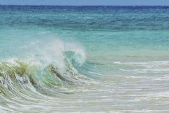 Våg som besprutar på kusten Arkivfoto