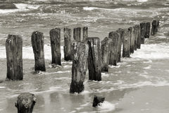 Vågbrytare på baltisk kust Arkivbild