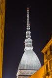 VågbrytareAntonelliana di Torino vid natt Arkivfoto