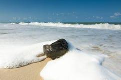 Vågen på stranden med den gamla kokosnöten som punkt av intresse Arkivbilder