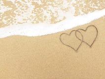Vågen, sanden och stranden Royaltyfri Bild