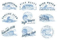 Vågetiketter, logoer Ställ in av atlantiska tidvattenmallar Dragen gammal inristad hand för tappning Marin- och nautiskt eller ha stock illustrationer
