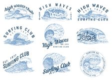 Vågetiketter, logoer Ställ in av atlantiska tidvattenmallar Dragen gammal inristad hand för tappning Marin- och nautiskt eller ha royaltyfri illustrationer