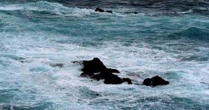 Vågkraschen in i vaggar kustlinjen, Atlantic Ocean, Porto Moniz, madeiraön Portugal, ultrarapid arkivfilmer