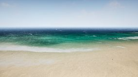 Vågor för flyg- sikt bryter på den härliga sandstranden framförande 3d arkivfoto