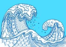 Vågor för hav för vektor för Zentangle klotter hand drog Royaltyfri Bild