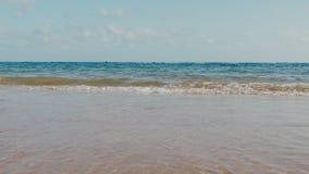 Vågor för hav hav över sandstranden stock video